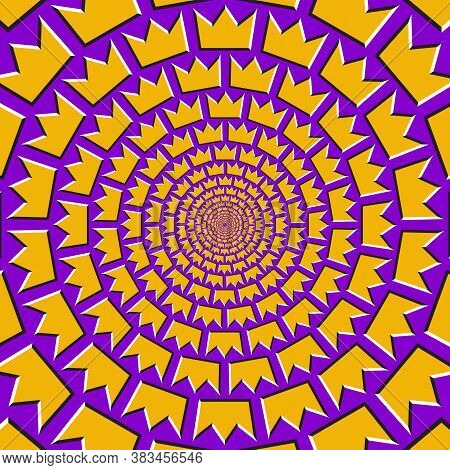 Optical Motion Illusion Vector Background. Golden Crown Shapes Move Around The Center On Purple Back