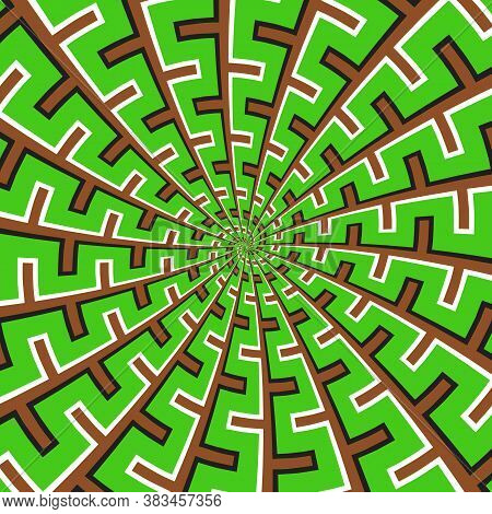 Optical Motion Illusion Vector Background. Green Brown Spiral Broken Striped Pattern Move Around The