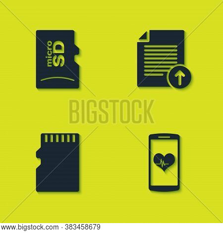 Set Micro Sd Memory Card, Smartphone With Heart Rate, And Upload File Icon. Vector