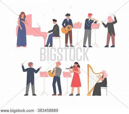 Musician Characters Playing Musical Instruments Set, Playing Violin, Classical Musicians Performingo