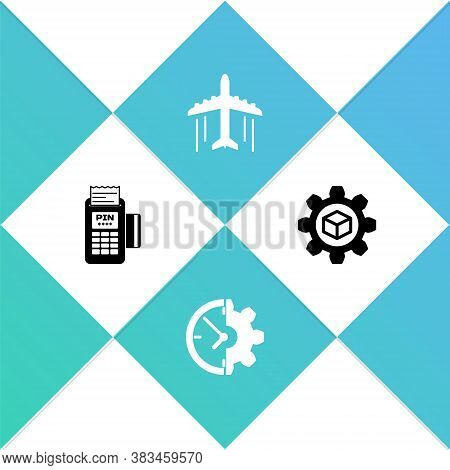 Set Pos Terminal, Clock And Gear, Plane And Product Development Icon. Vector