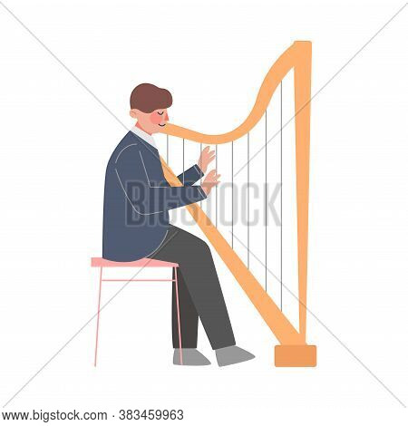 Man Musician Playing Harp, Classical Music Performer Character With Musical Instrument Flat Style Ve