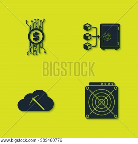 Set Cryptocurrency Bitcoin In Circuit, Asic Miner, Cloud Mining And Proof Of Stake Icon. Vector