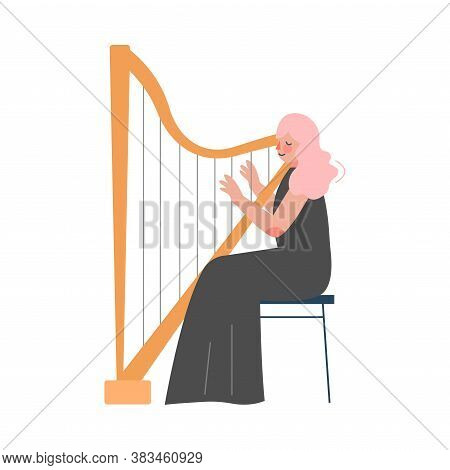Woman Musician Playing Harp, Classical Music Performer Character With Musical Instrument Flat Style