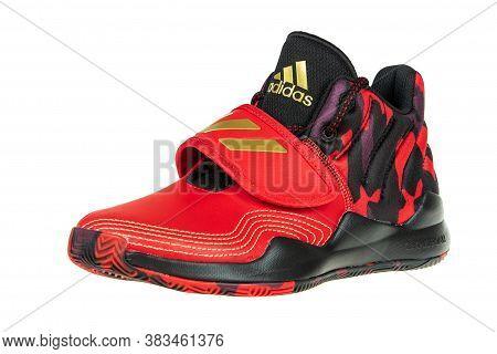 Varna , Bulgaria - August 6, 2020 : Adidas Deep Pro Spark Sport Shoe, Isolated. Product Shot. Adidas