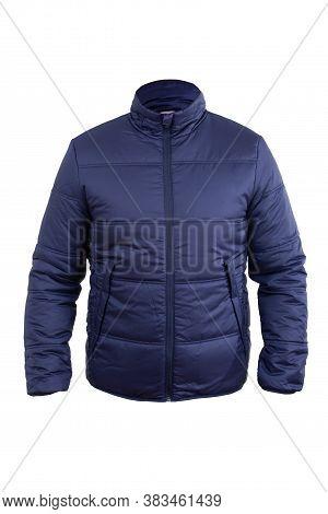 Blue Men Sport Winter Jacket, Isolated White