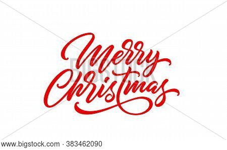 Merry Christmas Text. Xmas Calligraphic Inscription. Christmas Handwritten Lettering For Postcard, P