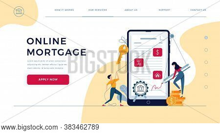 Mortgage Online Landing Page. Borrowers Sign Loan Contract By E-signature. People Affix An Electroni