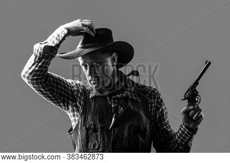 Portrait Of A Cowboy. American Bandit In Mask, Western Man With Hat. Portrait Of Farmer Or Cowboy In
