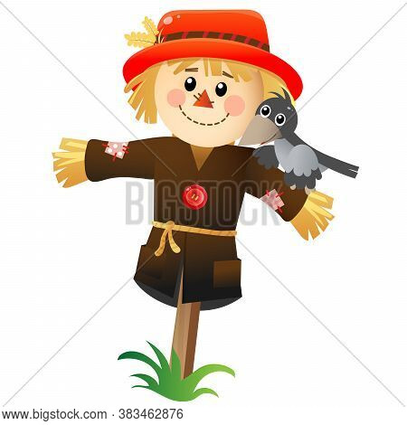 Color Image Of Cartoon Stuffed Or Scarecrow With Crow On White Background. Vegetable Garden. Vector