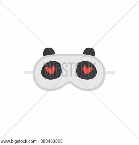 Cute Panda Sleeping Mask With Heart Eyes. Cartoon Sleep Blindfold