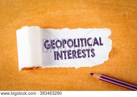 Geopolitical Interests. Purple Pencil And Orange Paper