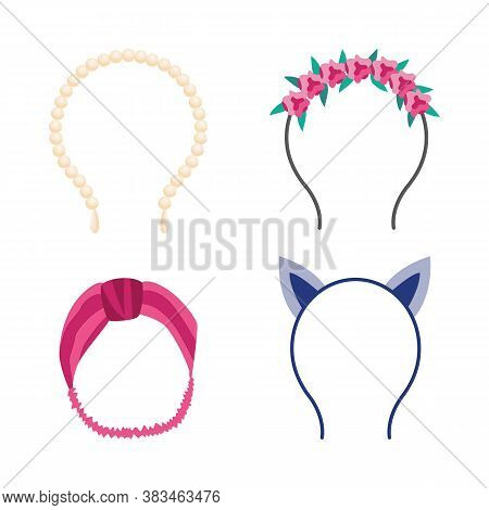 Cute Headband Set Isolated On White Background, Fashion Accessories