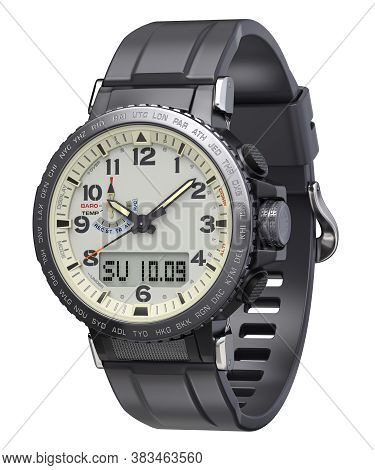 Men Sport Watch With Silicone Wristband Isolated On White Background - 3d Illustration
