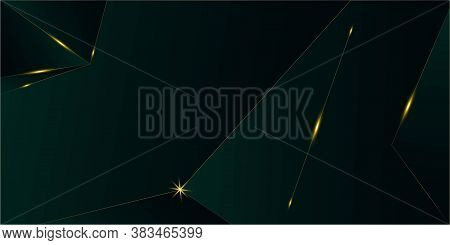 Emerald Luxury Gold Background. Golden Rich Vip Polygon Border Christmas New Year Celebration Banner