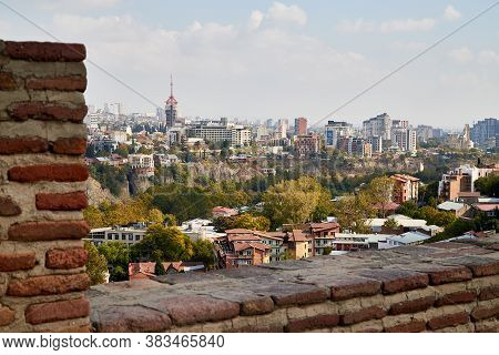 Tbilisi, Georgia - October 21, 2019: Top View On The Old Part Of The City Tbilisi In Georgia In A Da