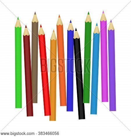 A Set Of Colored Pencils. Pencils For Drawing. School Pencils. Vector Pencils On A White Background.