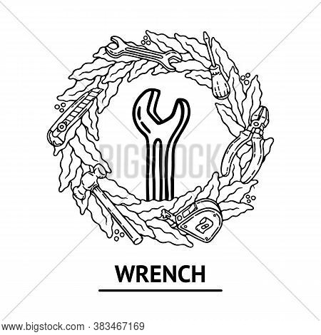 Old School Builder Vector Illustration With Wrench With Outline And Geometric Diverging Beams In Cla