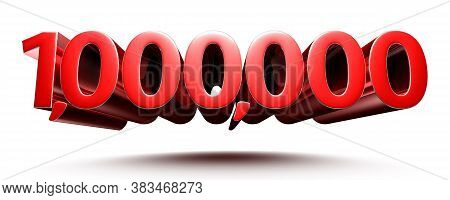 3d Illustration 1 Million Red Isolated On A White Background.(with Clipping Path).