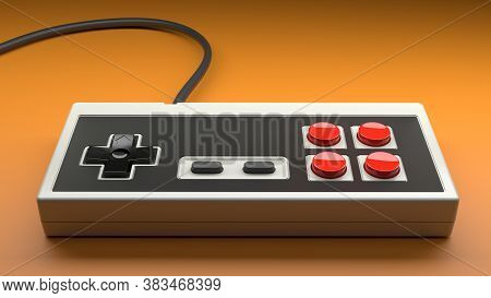 Retro Computer Gaming Controller Joystick With Red And Black Buttons On A White Background, Concept