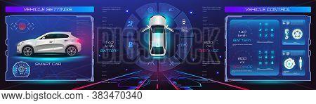 Car Service. Holographic Digital Interface. Dashboard, Characteristics, Description Of The Car. Futu