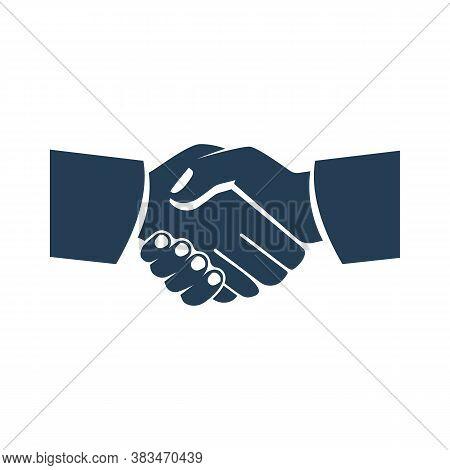 Handshake Business Icon. Symbol Of Successful Deal Transaction. Partnership, Meeting Businessman. Ve