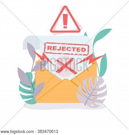 Template Landing Page, Refusal In Writing. Rejected Icon. Refusal Envelope. Web Banner Refusal To Ap