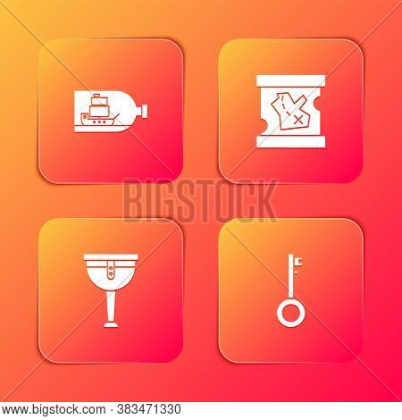 Set Bottle With Ship Inside, Pirate Treasure Map, Wooden Pirate Leg And Key Icon. Vector