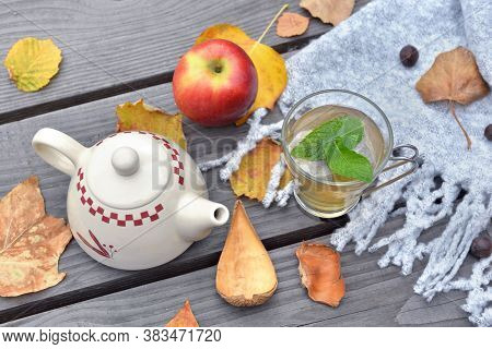Mint Cup Of Tea  On A Wooden Table In Garden With Teapot  Among Autumnal  Leaf And Red Apple On Wool