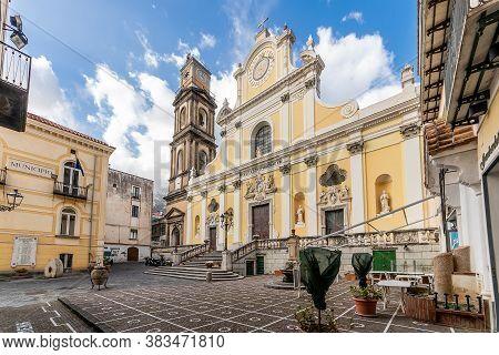 Minori, Amalfi Coast, Campania, Italy, February 2020: The Imposing Basilica Of Santa Trofimena In Ne