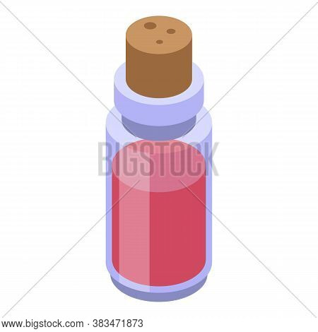 Red Potion Essential Oils Icon. Isometric Of Red Potion Essential Oils Vector Icon For Web Design Is