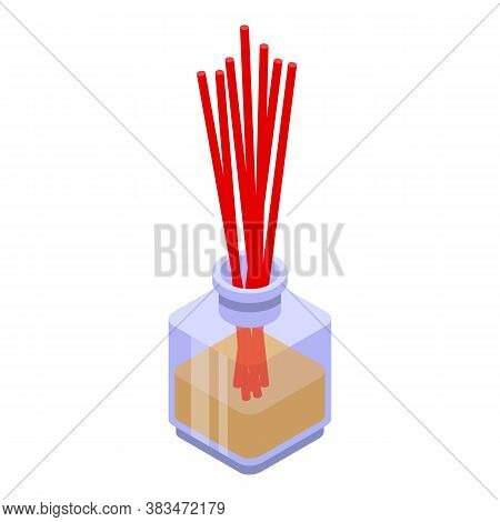 Zen Sticks Diffuser Icon. Isometric Of Zen Sticks Diffuser Vector Icon For Web Design Isolated On Wh