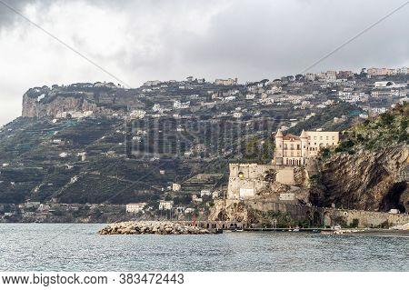 Minori, Amalfi Coast, Italy, February 2010: The Mezzacapo Castle, Seen From The Maiori Seafront On T