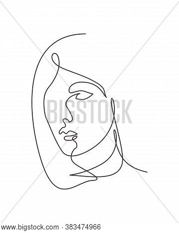 Single Continuous Line Drawing Beautiful Aesthetic Portrait Woman Abstract Face. Pretty Sexy Model F