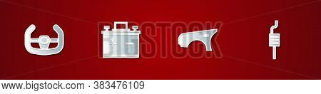 Set Sport Steering Wheel, Car Battery, Fender And Muffler Icon. Vector