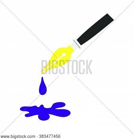 Fountain Pen With Blot Icon. Flat Color Design. Vector Illustration.