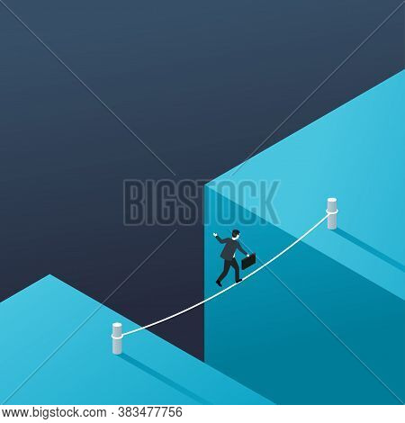 Business Risk And Dangerous Management Strategy Concept - Businessman Walks Over Gap As Tightrope Wa
