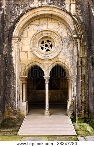 Detail of an old door at the Batalha Monastery, Portugal
