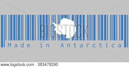 Barcode Set The Color Of Antarctica Flag, A Plain White Map Of The Continent On A Blue Background, T