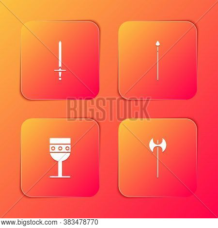 Set Medieval Sword, Spear, Goblet And Axe Icon. Vector