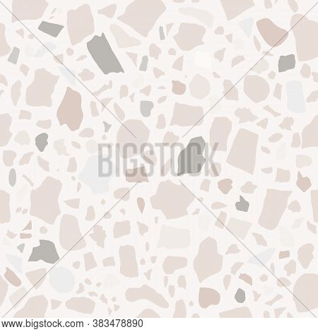 Vector Seamless Modern Terrazzo Pattern For Bathroom, Kitchen Tiles. Hand Painted Abstract Italian G