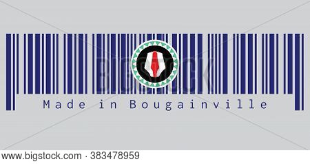 Barcode Set The Color Of Bougainville Flag, Red And White Upe Headdress Superimposed On A Green And