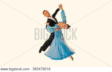 Dance Ballroom Couple In Red Dress Dance Pose Isolated On Black Background. Sensual Professional Dan