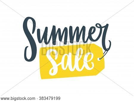 Promotion Handwritten Cursive Inscription With Advertising Text. Summer Sale Lettering Written On Ta