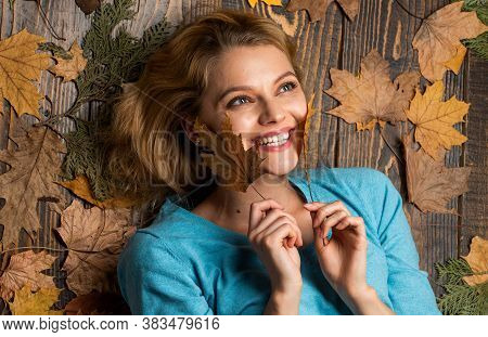 Autumn Leaves And Nature. Excited Fall Woman. Girl Enjoying Life And Freedom. Season Of Shopping Sal