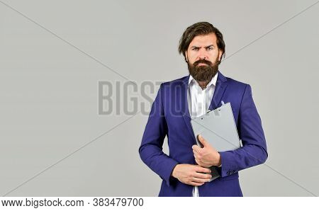 Project Curator. Confident Businessman Holding Folder For Documents. Business People Concept. Busine