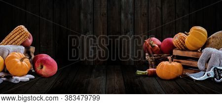 Fall Harvest Cornucopia. Thanksgiving Background. Autumn Season With Organic Fruit And Vegetable.