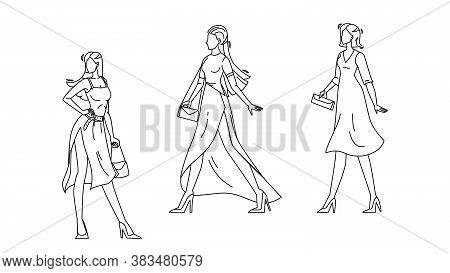 Model Girls Wear Fashion Apparel On Podium Vector