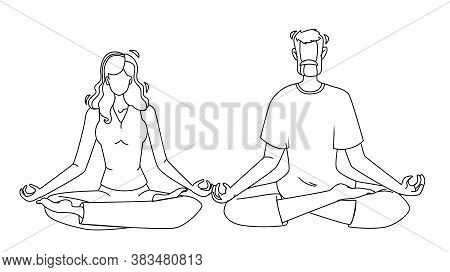 Consciousness Mind Meditating Man And Woman Vector