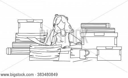 Woman Employee Clutter Office Workplace Vector Illustration
